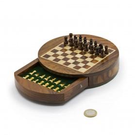 Chess set magnetico rotondo con scacchi e cassetto in legno naturale palissandro e acero intarsiato a mano.
