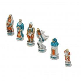 Scacchi Crociati Vs Saraceni in alabastro e resina dipinti a mano