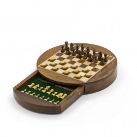 Chess set magnetico rotondo con scacchi, dama e cassetto in legno naturale palissandro e acero intarsiato a mano.