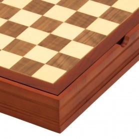 Scacchiera con contenitore, in legno noce e acero intarsiata a mano