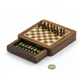 Chess set magnetico quadrato con scacchi e cassetto in legno naturale palissandro e acero intarsiato a mano.