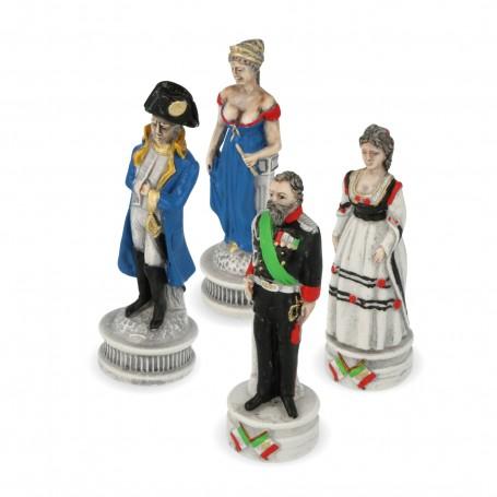 Scacchi Borboni Vs Savoia in alabastro e resina dipinti a mano