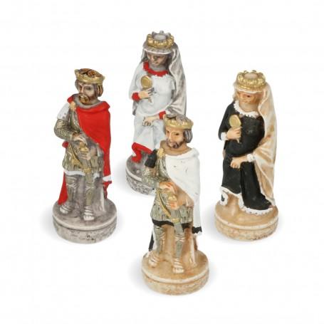 Scacchi Ordine dei Crociati in alabastro e resina dipinti a mano