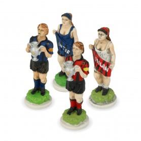 Scacchi Squadre di Calcio in alabastro e resina dipinti a mano