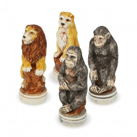Scacchi Il Mondo Animale in alabastro e resina dipinti a mano