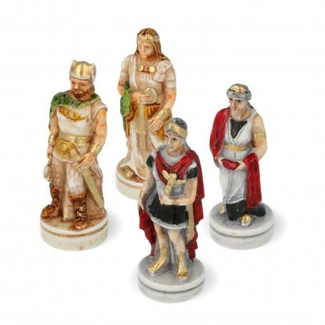 Scacchi Battaglia Romani Vs Barbari in alabastro e resina dipinti a mano