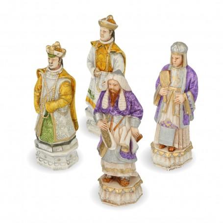 """Scacchi """"Genghis Khan e la battaglia dei Mongoli contro il popolo cinese"""" in alabastro e resina dipinti a mano"""