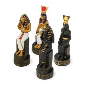 Scacchi Antico Egitto in alabastro e resina dipinti a mano