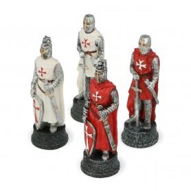 Scacchi Crociati in alabastro e resina e dipinti a mano