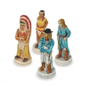 Scacchi Far West Cowboy contro Indiani in alabastro e resina dipinti a mano.