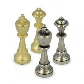 Scacchi Classici modello Staunton in metallo zama con superficie arabescata rifiniti a mano.