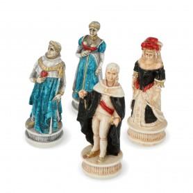 Scacchi Battaglia di Spagna in alabastro e resina dipinti a mano