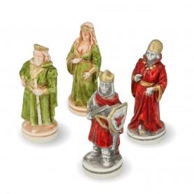 Scacchi Battaglia di Camelot in alabastro e resina dipinti a mano