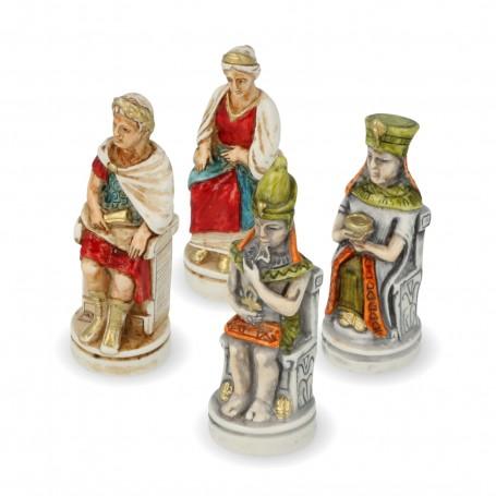 Scacchi Cleopatra e Cesare in alabastro e resina dipinti a mano
