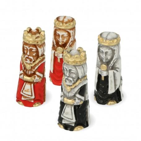 Scacchi i Crociati stilizzati in alabastro e resina dipinti a mano
