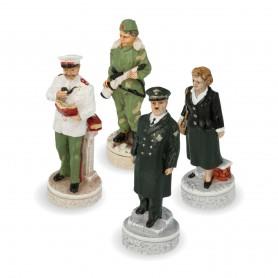 Scacchi Seconda Guerra Mondiale - Hitler Vs Stalin  in alabastro e resina dipinti a mano