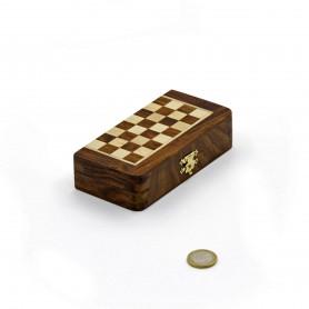 Chess set magnetico quadrato pieghevole con scacchi e dama in legno naturale palissandro e acero intarsiato a mano.