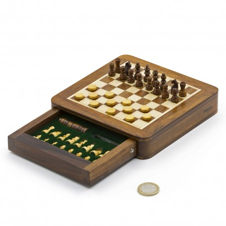 Chess set magnetico quadrato con scacchi, dama e cassetto in legno naturale palissandro e acero intarsiato a mano
