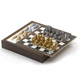 Chess Set con Scacchi Cani e Gatti in Alabastro e resina dipinti a mano e Box contenitore in legno