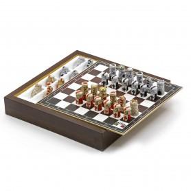 Chess Set con Scacchi I Crociati in Alabastro e resina dipinti a mano e Box contenitore in legno
