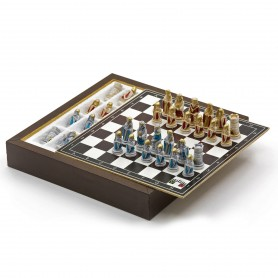 Chess Set completo di scacchi il Medioevo in alabastro e resina dipinti a mano e Box contenitore in legno