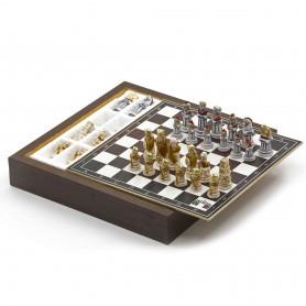 Chess Set con Scacchi Romani contro Barbari in Alabastro e resina dipinti a mano e Box contenitore in legno