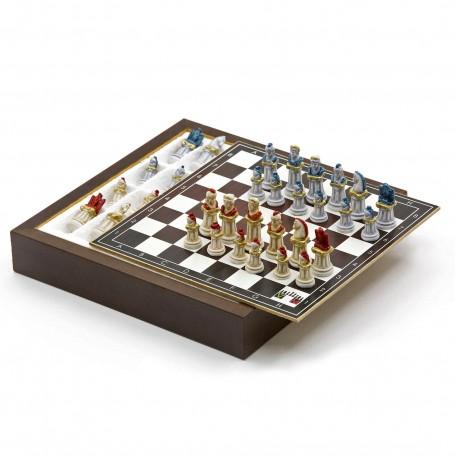 Chess Set con Scacchi Antica Roma in Alabastro e resina dipinti a mano e Box contenitore in legno