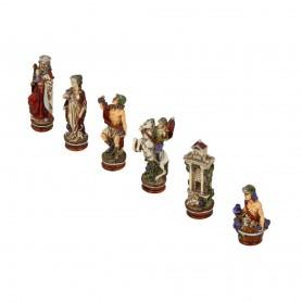Scacchi La Vendemmia - Bacco in festa in alabastro e resina dipinti a mano